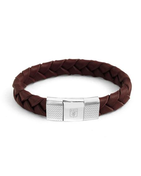 Men's Ermenegildo Zegna Braided Leather Silver Bracelet, Brown