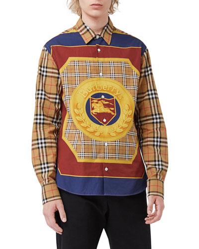 Men's Strental Archive Scarf-Print Sport Shirt