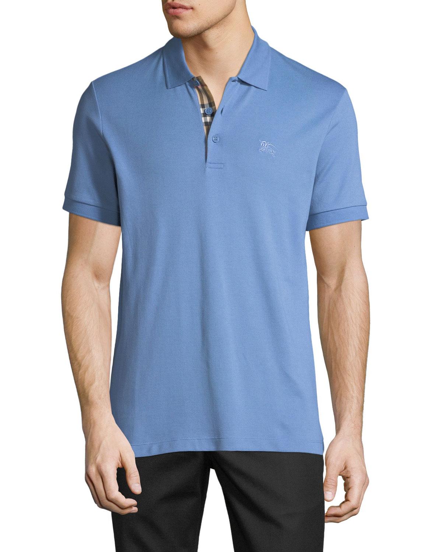 Burberry Mens Hartford Check Facing Polo Shirt Light Blue Neiman