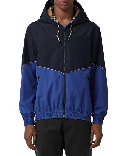 Men's Elworth Hooded Zip-Front Nylon Jacket