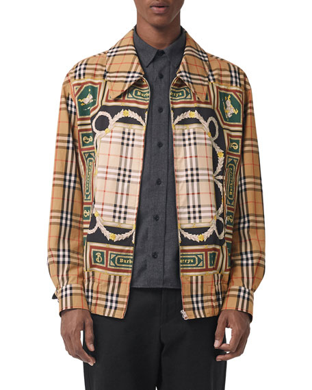 Men'S Shenmore Zip-Front Archive Scarf-Print Jacket in Brown