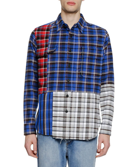 Off-White Men's Check Reconstructed Sport Shirt