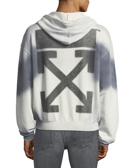 Men's Spray-Over Distressed Hoodie Sweatshirt