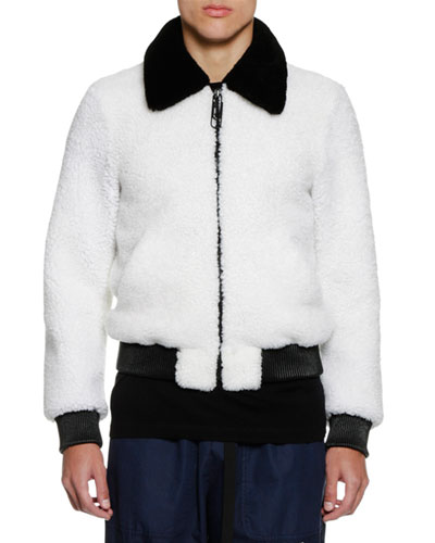 Men's Two-Tone Shearling Bomber Jacket