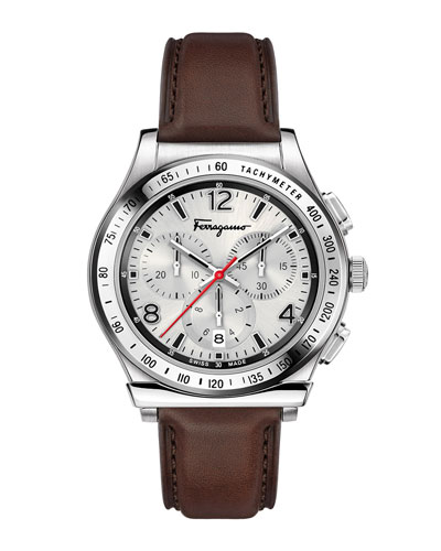 Men's 1898 Chronograph Watch with Leather Strap, Silver/Brown