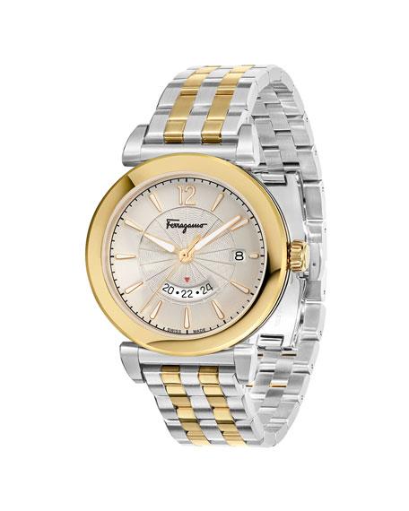Men's Feroni Two-Tone Bracelet Watch, Silver/Gold IP