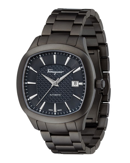 Men's Automatic Octagonal Bracelet Watch, Gunmetal/Blue