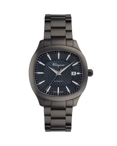 Men's Automatic Octagonal Bracelet Watch, Gunmetal/Blue