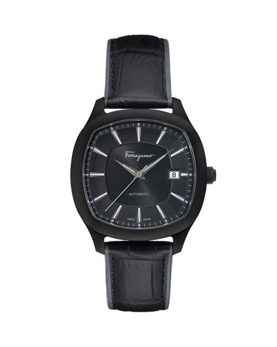 Men's Automatic Octagonal Leather Watch, Black