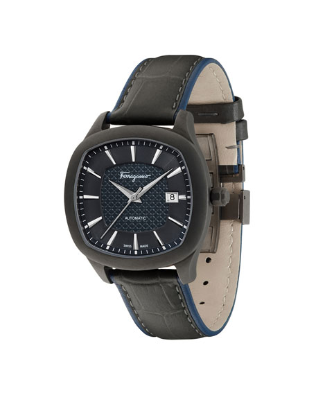 Men's Automatic Octagonal Leather Watch, Blue/Gunmetal