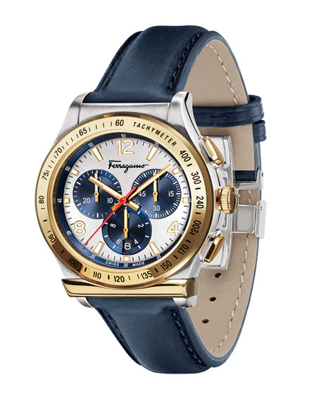 Men's 1898 Chronograph Watch with Leather Strap, Silver/Gold/Blue