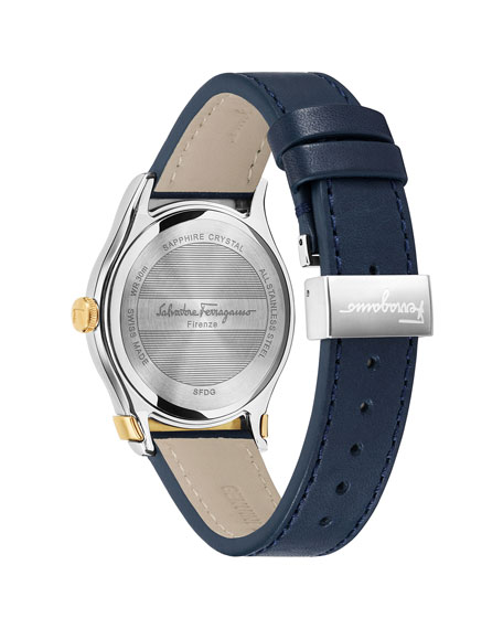 Men's 1898 3-Hand Date Watch with Leather Strap, Silver/Gold/Blue