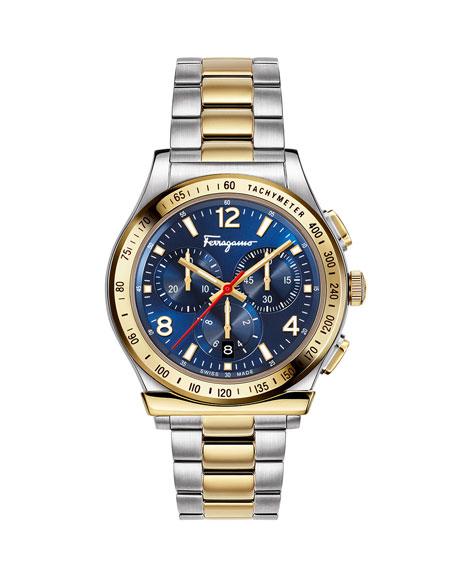 Men's 1898 Two-Tone Chronograph Bracelet Watch, Blue