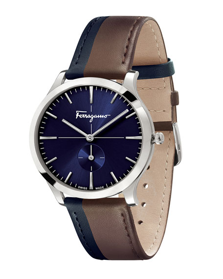 Men's Two-Tone Slim Formal Leather Watch, Blue