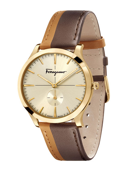 Men's Two-Tone Slim Formal Leather Watch, Champagne