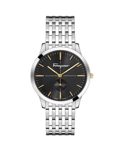 Men's Slim Formal Bracelet Watch, Black/Steel
