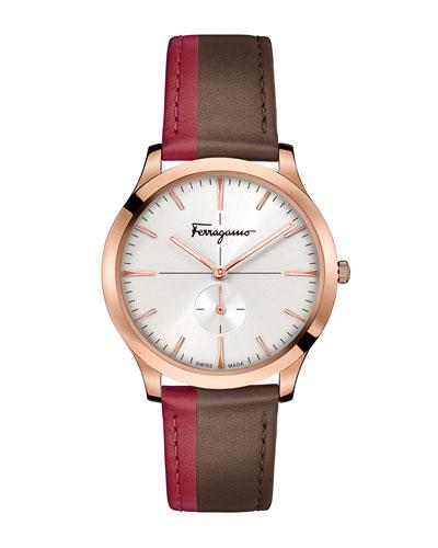 Men's Slim Formal Leather Watch, Rose