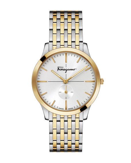 Men's Slim Formal Two-Tone Bracelet Watch, Silver/Gold IP