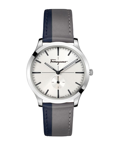 Men's Slim Formal Two-Tone Leather Watch, Silver