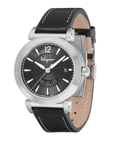 Men's Feroni Leather Watch, Black