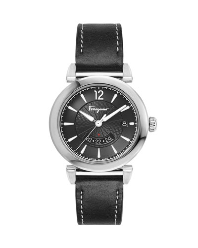 Men's Feroni Leather Watch, Black