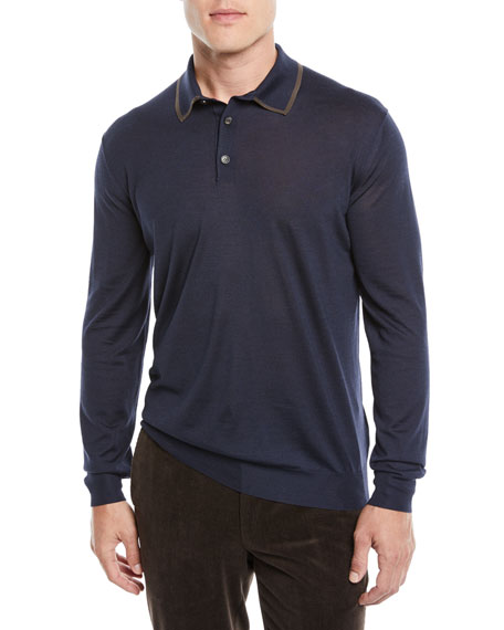 Ermenegildo Zegna Men's Wool-Blend Long-Sleeve Polo Shirt
