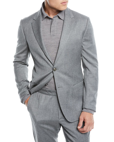 Men'S Wash-And-Go Flannel Two-Piece Suit, Gray