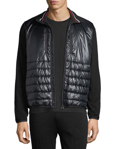 Men's Hybrid Sweater with Full-Zip Design