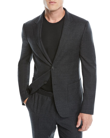 Men'S Micro-Check Two-Piece Wash/Go Suit, Gray Pattern