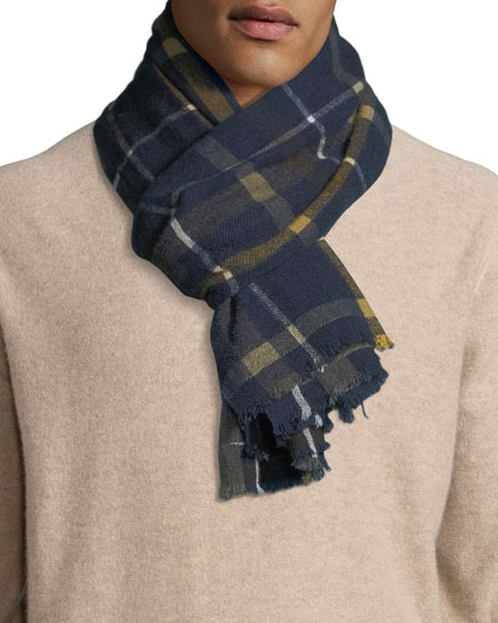 19ANDREAS47 Men'S Cashmere Check Scarf in Navy