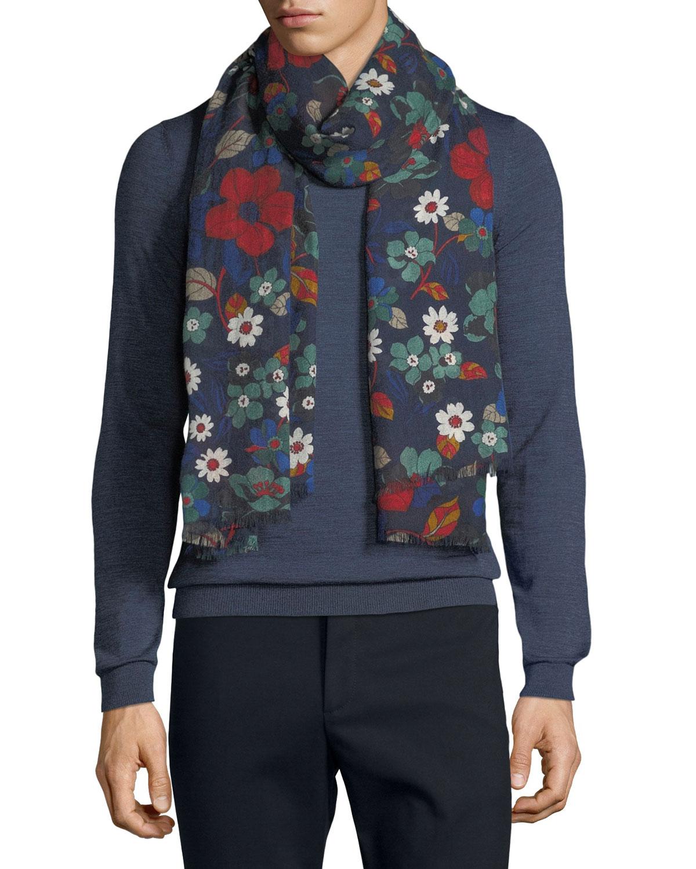 19andreas47 Men's Millefiori Floral-Print Cashmere Scarf