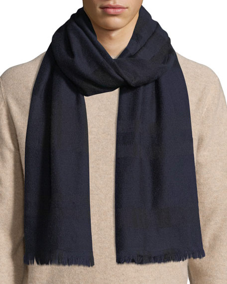 19ANDREAS47 Men'S Grattacielo Cashmere Scarf in Navy