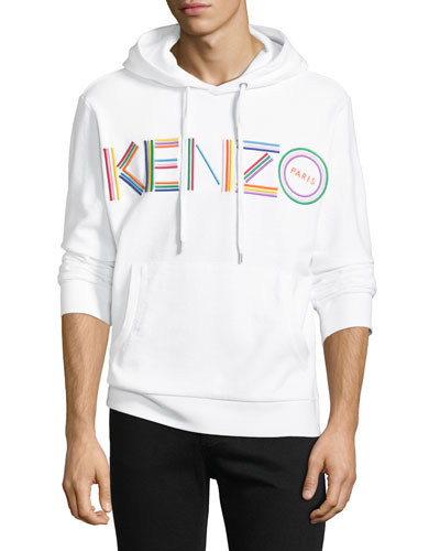 Men's Multicolor Logo Embroidered Pullover Cotton Hoodie Sweatshirt