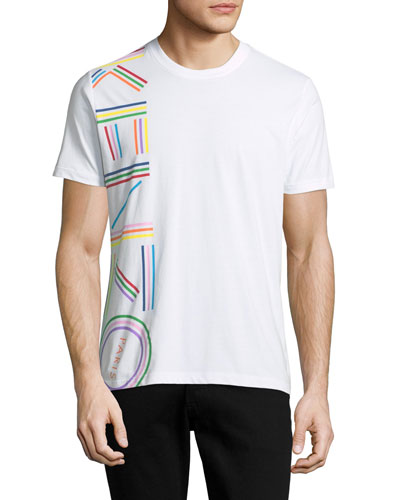 Men's Vertical Rainbow Logo Short-Sleeve Crewneck T-Shirt