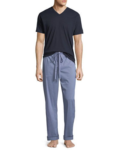 Men's Two-Piece Check Pajama Gift Set
