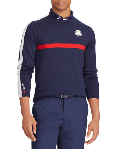 Men's USA Ryder Cup ThermoCool Striped-Trim Golf Sweater