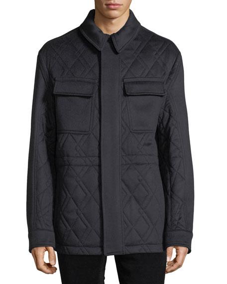 Ermenegildo Zegna Men's Quilted Car Coat with Leather