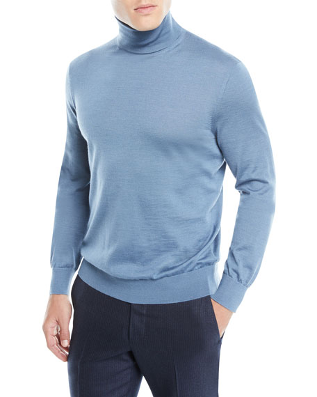 Men's Textured Cashmere/Silk Turtleneck Sweater