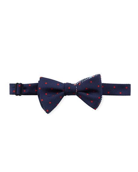 EDWARD ARMAH Houndstooth & Polka Dot Bow Tie in Navy