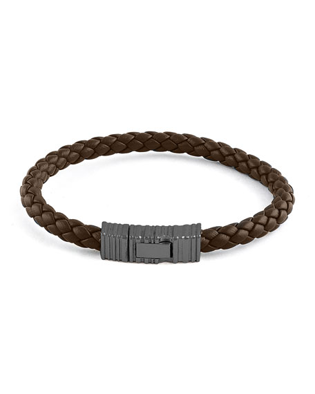 Men's Braided Leather & Rhodium-Plated Bracelet, Brown