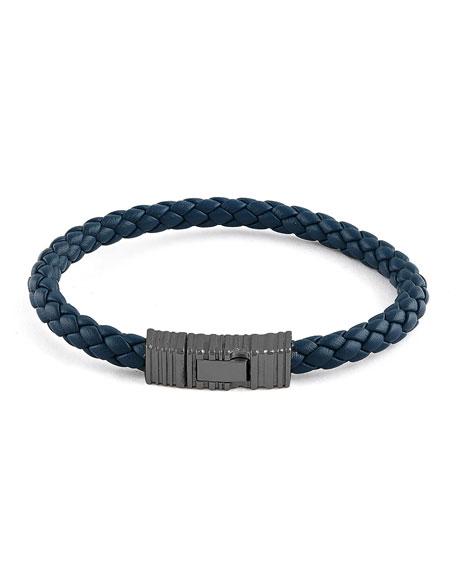 Men's Braided Leather & Rhodium-Plated Bracelet