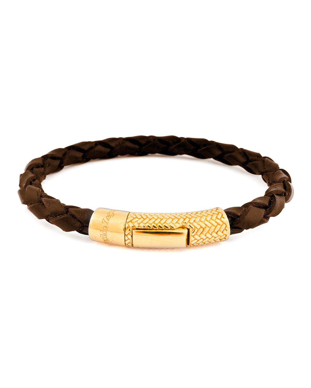 Men S Braided Leather Golden Bracelet