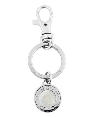 Men's Rhodium-Plated Signature Logo Key Ring