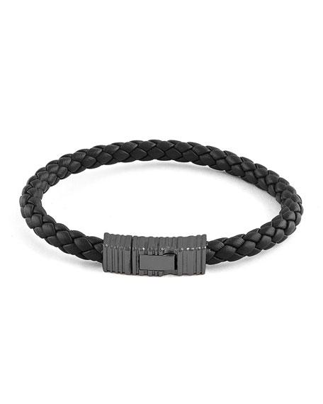 Men's Braided Leather Gunmetal Bracelet