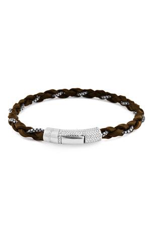 Ermenegildo Zegna Men's Leather & Chain Braided Bracelet, Brown
