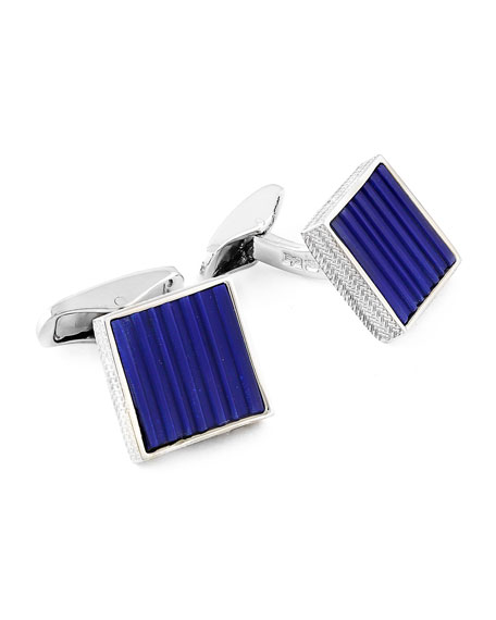 Square Cuff Links w/ Carved Lapis