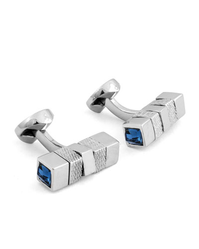 Square Rotating Bar Cuff Links w/ Crystals, Silver/Blue