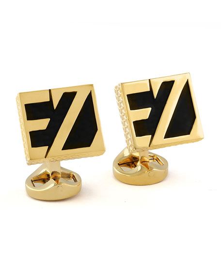 Ermenegildo Zegna EZ Enamel Cuff Links, Black/Yellow