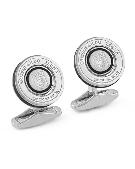 Rotating Seal Cuff Links w/ Enamel, Silver/Black
