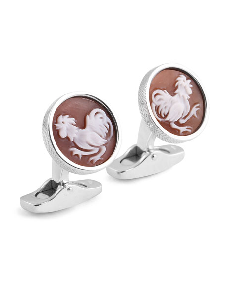 Cameo Rooster Cuff Links w/ Seashell